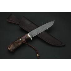 Нож Фортуна  из стали резной  дамаск A270