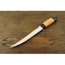 Нож Филейный из кованой стали Х12МФ с рукоятью из бересты и граба A121